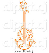 Vector Clipart of a Orange Floral Guitar Upright by Vector Tradition SM