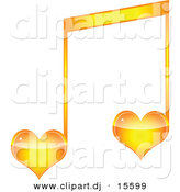 Vector Clipart of a Orange Love Heart Music Note by Andrei Marincas