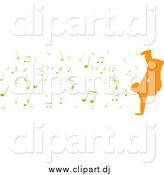 Vector Clipart of a Orange Silhouetted Breakdancer with Green Music Notes by Michaeltravers
