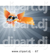 Vector Clipart of a Orange Winged Record Player with Blank Banner over Bursting Gray Background by Elena