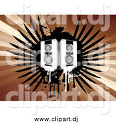 Vector Clipart of a Pair of Music Speakers Dripping over Black Grunge Wings on a Bursting Brown Background by KJ Pargeter