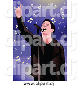 Vector Clipart of a Performing Male Singer and Notes over Purple by Mayawizard101