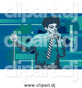 Vector Clipart of a Performing Male Singer in Blue and Green Tones with Grunge by Mayawizard101