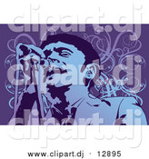 Vector Clipart of a Performing Male Singer in Purple and Blue by Mayawizard101