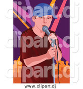 Vector Clipart of a Performing White Male Singer over Lights by Mayawizard101
