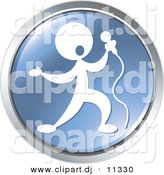 Vector Clipart of a Person Singing - Blue Website Button Icon by Alexia Lougiaki