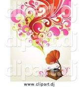 Vector Clipart of a Phonograph Playing Music, Shown As Red, Pink and Green Circles, Flowers and Leaves over an off White Background by OnFocusMedia