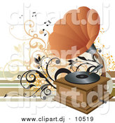 Vector Clipart of a Phonograph with an Orange Cone, Playing Music on a Vinyl Record by OnFocusMedia