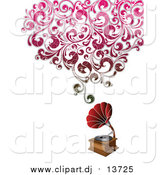 Vector Clipart of a Phonograph with Floral Distressed Waves by OnFocusMedia