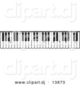 Vector Clipart of a Piano Keyboard Keys - Black and White Vintage Version by BestVector