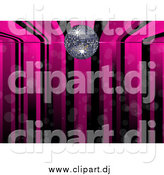 August 6th, 2015: Vector Clipart of a Pink and Black Music Stripe Background with a Silver Disco Ball by Elaineitalia