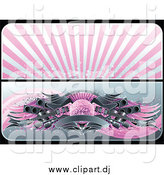 Vector Clipart of a Pink and Gray Website Banners of a Starry Burst and Guitar Disco Ball by Elena