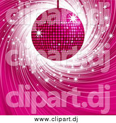 Vector Clipart of a Pink Disco Ball over a Swirling Blue Background with White Sparkles by Elaineitalia