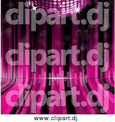 Vector Clipart of a Pink Disco Ball over Curving Lines with Equalizer Bars by Elaineitalia