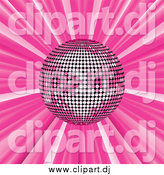 Vector Clipart of a Pink Disco Ball Suspended over a Pink Bursting Background by Elaineitalia