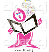 Vector Clipart of a Pink Singer with Flowing Sheet Music by Pauloribau