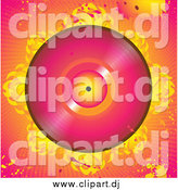 Vector Clipart of a Pink Vinly Record with Flames, over a Grunge Pink and Orange Background with Splatters and Dots by Elaineitalia