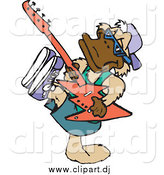 Vector Clipart of a Platypus Musician Playing a Guitar by Dennis Holmes Designs