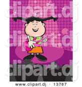 Vector Clipart of a Popular Cartoon Girl Singing While Playing a Guitar on a Purple Stage by David Rey