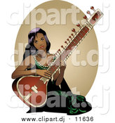 March 12nd, 2016: Vector Clipart of a Pretty Indian Lady Playing a Sitar Instrument by R Formidable