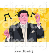 April 9th, 2015: Vector Clipart of a Professional Music Conductor over Yellow and Orange by Mayawizard101