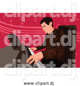 Vector Clipart of a Professional Pianist Man over Pink Music Notes by Mayawizard101