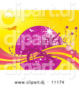 Vector Clipart of a Purple Disco Ball Surrounded by People, Flowers and Palm Trees with an Airplane and Butterflies on a Yellow Background by Elaineitalia