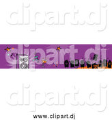 Vector Clipart of a Purple Its Party Time Banner with Party People and Music by NL Shop