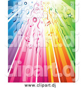 Vector Clipart of a Rainbow Background with Streamers, Circles, Stars and Music Notes by TA Images