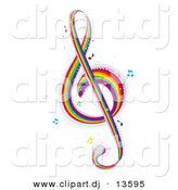Vector Clipart of a Rainbow Colored G Clef Music Note by BNP Design Studio