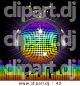 Vector Clipart of a Rainbow Disco Ball Globe with Headphones with Music Notes, a Burst and a Equalizer Bars, on Black by Elaineitalia