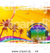 Vector Clipart of a Rainbow Disco Ball with Headphones on a Grunge Rainbow with Palm Trees, Sunshine by Elaineitalia