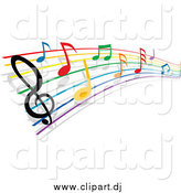 October 10th, 2014: Vector Clipart of a Rainbow Staff and Colorful Music Notes by Vector Tradition SM