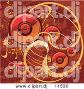 Vector Clipart of a Red and Orange Grunge Music Background with Speakers, Waves and Music Notes by L2studio