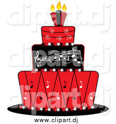 Vector Clipart of a Red Black and White Music Cake by Pams Clipart