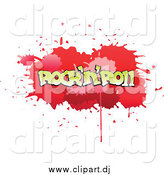 Vector Clipart of a Red Comic Splatter with Rock N Roll Text by Vector Tradition SM