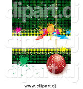 Vector Clipart of a Red Disco Ornament Ball Hanging over Green and White with a White Text Bar, Arrows and Splatters by MilsiArt
