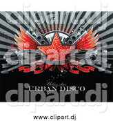 Vector Clipart of a Red Glittering Star with Wings, Speakers, a Keyboard, Guitars and a Blank Banner over a Burst with Sample Text by Elena