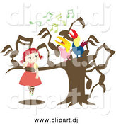 Vector Clipart of a Red Haired Girl Watching Two Singing Birds in a Music Note Tree by Cherie Reve