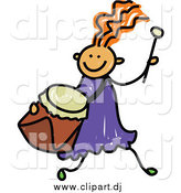 May 20th, 2015: Vector Clipart of a Red Haired White Girl Running with a Drum by Prawny