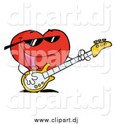 Vector Clipart of a Red Heart Playing a Guitar and Singing by Hit Toon
