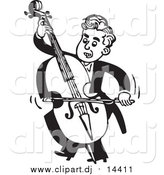 October 26th, 2015: Vector Clipart of a Retro Black and White Male Musician Facing Left and Playing a Bass by BestVector
