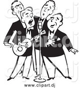 Vector Clipart of a Retro Black and White Quartet of Singing Men by BestVector