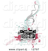 Vector Clipart of a Retro Cassette Tape Player over Abstract Designs by BNP Design Studio