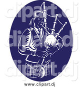 Vector Clipart of a Retro Dark Blue and White Bagpipe Player by Patrimonio