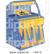 Vector Clipart of a Retro Juke Box - Blue and Yellow by Any Vector