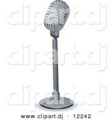 Vector Clipart of a Retro Microphone on a Stand by BNP Design Studio