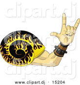 September 11th, 2015: Vector Clipart of a Rock and Roll Hand Snail with a Flaming Shell by Frisko