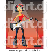 Vector Clipart of a Rocker Girl Playing Electric Guitar on Stage Under Spotlight with Microphone by Character Market