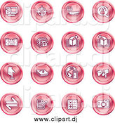 Vector Clipart of a Round Pink Computer, Viewfinder, Wireless, Questions and Answer, Castle, Music, Forward, Back, Www, Mail, Math and Camera by AtStockIllustration